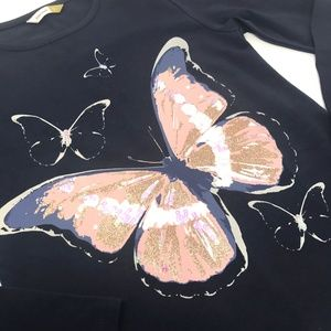 JOHN LEWIS Butterfly Charcoal Sequin Top Sz 9